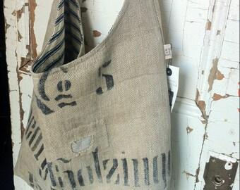 No 5 - reconstructed vintage linen grain sack sling bag