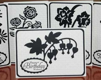 Assorted Black & White Flower Blank Note Cards Set of 5, Thank You Gift, Teacher Appreciation Gift, or Personal Stash