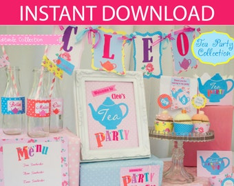 Tea Party DIY Printable Kit - INSTANT DOWNLOAD