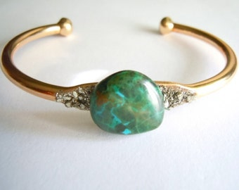 Raw Gemstone Bracelet - Chrysocolla - Gift for her- Mineral Jewelr-  Crystal Stone - Gift Under 60.00
