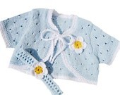 Discount - Knitted baby bolero, knitted baby vest,cotton baby bolero,baby gift -headband,  Ready to Ship