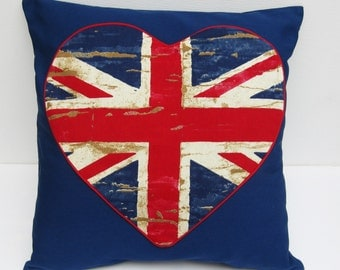 Union Jack Pillow Cover,  Cushion Cover with heart shaped pocket, Pillow Cover, Valentines Gift, Union Jack Cushion Cover,  Union Jack Heart