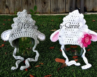 Crochet Lamb Hat, Hat for Baby, Lamb Pixie Hat, Photo Prop