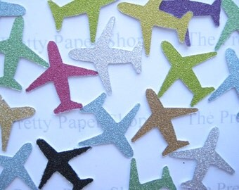 100 Glittered Airplanes punch die cut embellishments E1556