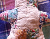 Res for CARA Quilt Vintage Antique Bear QUILT Pinks Blue Purple and White Hand Stitched Vintage Home Decor Cottage Chic Bear Quilt Stuffed