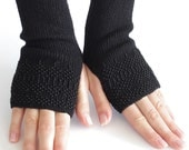 Very soft and cozy merino wool and acrylic blend beaded fingerless gloves/wrist warmers in black - READY to ship
