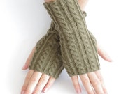 Hand knitted wool blend cable knit gloves, cable knit mittens, wrist warmers in khaki color - READY to ship