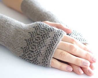 Hand knitted elegant beaded light taupe wool and acrylic blend fingerless gloves with black ornament