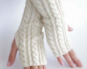 Hand knitted very soft and cozy wool blend cable knit gloves/wrist warmers in white color - READY to ship