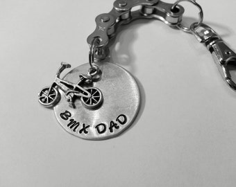 Personalized Bicycle Chain Key Chain BMX Dad #1 Dad Name BMX Mom Hand Stamped - KETEXT05