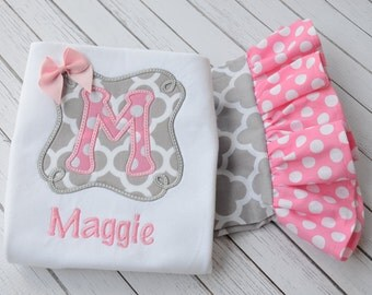 Girl's Gray and Pink Monogrammed Shirt & Ruffle Pant Set