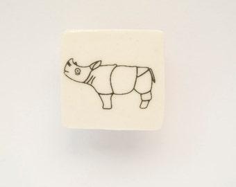 Ceramic Brooch with Rhino - Ceramic Brooch - Small Brooch