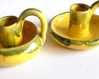 VINTAGE Primitive Yellow CANDLE HOLDERS/ set of 2