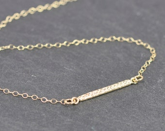 Tiny Hammered Gold Bar Necklace, 14K Gold Fill, Free US Shipping, Kristin Noel Designs