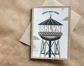 Greetings from Brooklyn Watertower,  A6 Screenprinted Blank Greeting Card