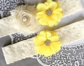 Wedding Garter Set Bridal Garter Set Lemon Yellow Lace Garter Set Ivory Rhinestone Crystal Lace Garter GR132LX