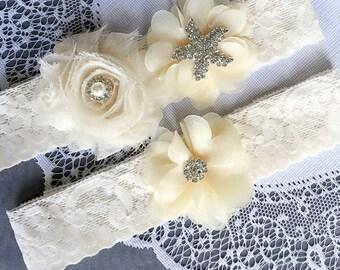 Wedding Garter Belt Set Bridal Garter Set Ivory Lace Garter Belt Lace Garter Set Rhinestone Crystal Starfish Garter GR117LX