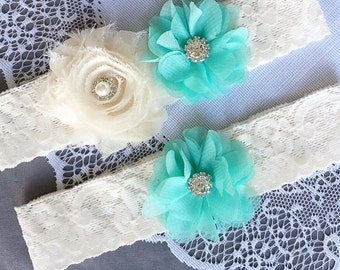 Wedding Garter Bridal Garter TEAL BLUE Garter Set Lace Garter Ivory Rhinestone Crystal Pearl Garter Beach Wedding GR106LX