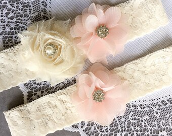Wedding Garter Set Bridal Garter Set Baby Pale Pink Lace Garter Set Ivory Rhinestone Crystal Lace Garter GR128LX