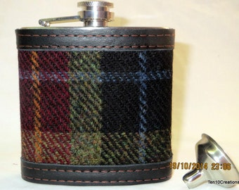 Harris Tweed Hip Flask in Presentation Box - 6oz Black/Red/Green Check Christmas Gift