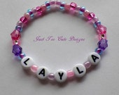 Girl  Toddler Pink and Purple Personalized Name Bracelet Custom Item