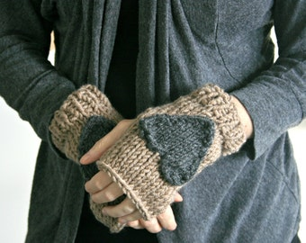 Fingerless Gloves with Heart WOOL  // Taupe and Charcoal // Holding On To Love Gloves