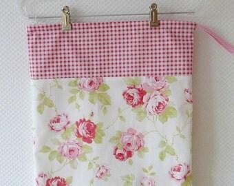 Large Drawstring Bag. Lingerie Bag. Shabby Chic Roses and Red Gingham. Floral Cotton Bag