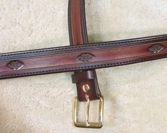 Hand-tooled Leather Belt - design B21043 in your color choice - Free US Shipping