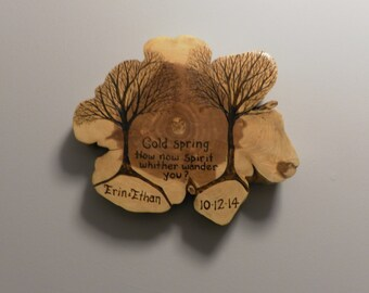 WeddingTree pyrography tree and roots on large raw edge cedar Customized made to order
