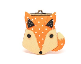 Tangerine orange fox card holder wallet