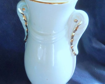 Pretty Light Aqua Grecian Urn Style Vase With Gold Accents, 7 Inches Tall With a 3 Inch Diameter
