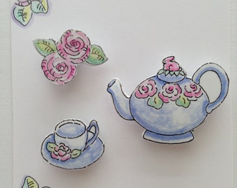 Three Magnets, Original illustrations, Watercolors, Teapot, Teacup, Flowers, Garden, Party, Cabbage Roses, Tea in the Garden, Ring for Tea