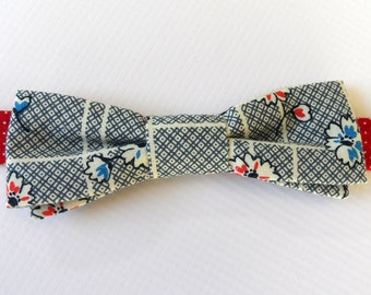 Adjustable Bow Tie in 1940s Floral, Polka Dots // Red, White, Blue // Modern, Fun, Whimsical // Men's Accessories