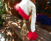 Santa Hat Antique White with Red Fuf Sizes Baby-Adult  Perfect for that  Christmas Photo