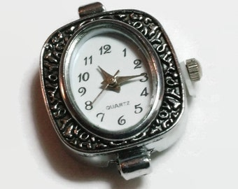 1 Quartz Watch Face, Antiqued Silver Tone- craft supplies, jewelry making |W-022-AS