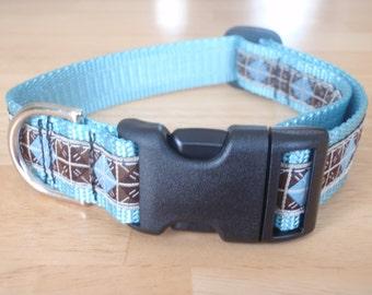 Brown and Blue Diamond Dog Collar