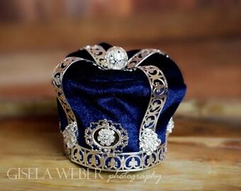 Boy Photo Prop, Newborn Crown, Silver Baby Crown, Blue Baby Crown, Boy Crown, Blue Newborn Crown, Newborn Photo Prop Boy, Baby Boy Props