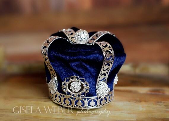 Boy Photo Prop Newborn Crown Silver Baby Crown Blue Baby