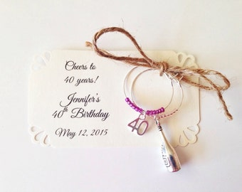 40th birthday favors, 40th anniversary favors. Number Forty wine charms. 2-charm set. Customized for your event. 1 to 50 favor listing.