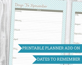 Blue Wave Dates To Remember - Planner Add On : DIGITAL FILE