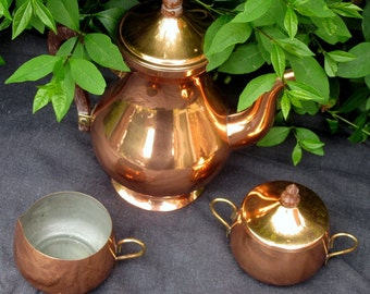 Vintage copper tea/coffee set - lined