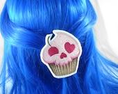 Skull Cupcake Hairclip - Anime Hairclip Kawaii Hairclip Skull Hairclip Cute Hairclip Pastel Hairclip Pastel Goth Gothic Lolita Embroidery