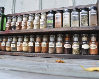 Spice Rack With Distressed Wood Finish Counter Top