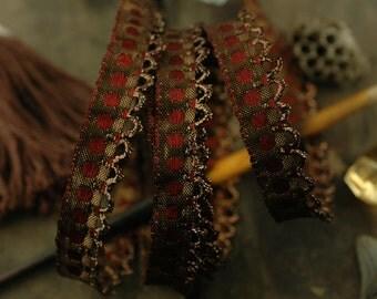 "Woodland Chocolate / Rich Brown, Metallic Ruffled Trim, Ribbon, Sari Border / India, 1/2"" x 1 Yard / Sewing, Craft Supplies / Rich Fall"