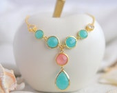 Turquoise and Coral Pink Jewel Pendant Statement Necklace in Gold.  Unique Fashion Necklace.  Turquoise and Gold Jewel Necklace.