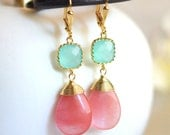 Bridesmaid Earrings in Grapefruit Pink and Aqua. Drop Earrings. Dangle. Bridesmaid Earrings. Drop Earrings. Modern Fashion Earrings. Gift.