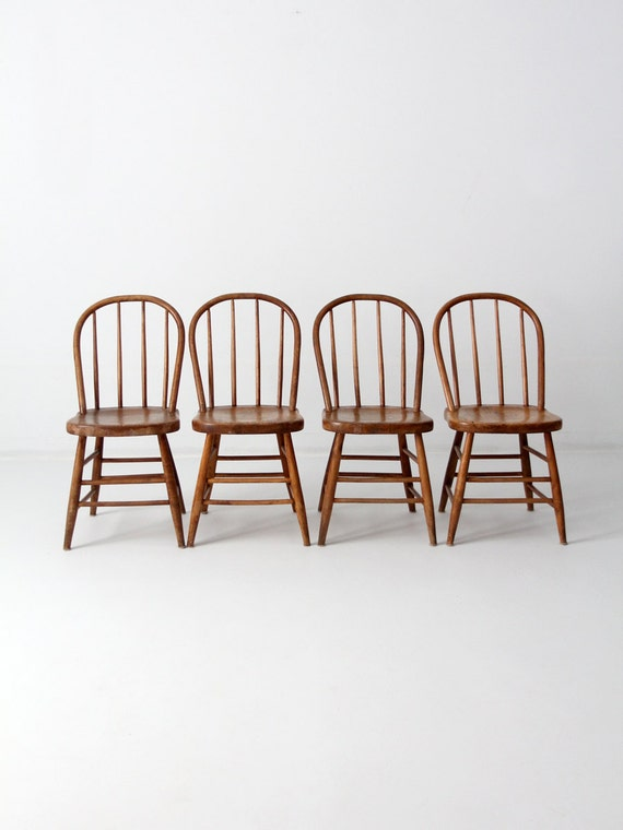 FREE SHIP Antique Spindle Bow Back Chair Set Of 4 Wood By 86home
