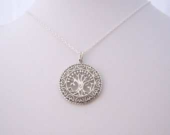 Ornate Celtic TREE of LIFE round sterling silver pendant with necklace chain, organic, nature, woodland jewelry