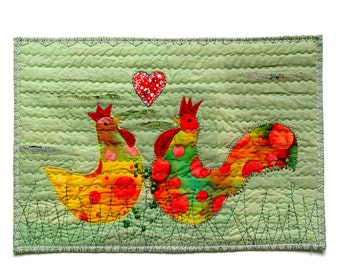 Hen and rooster love textile art in bright colors for happy couple