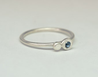 Blue sapphire and sterling silver little stacking ring
